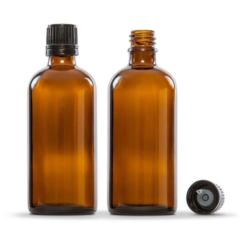 100ml Amber Glass Essential Oil Bottle Pack of 4