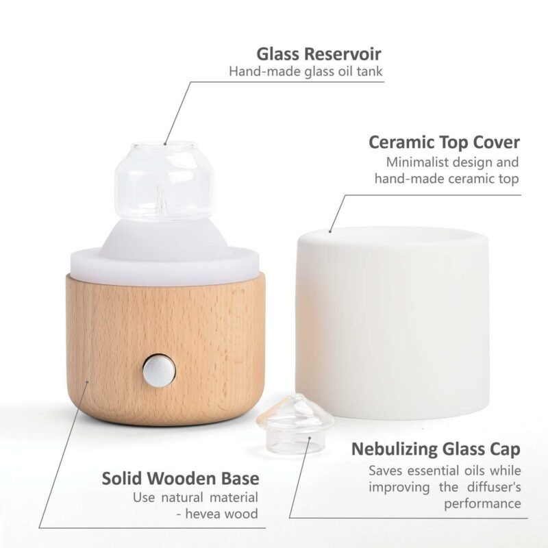 MK8 Ceramic & Solid Wood Nebulizing Diffuser Nebulizer