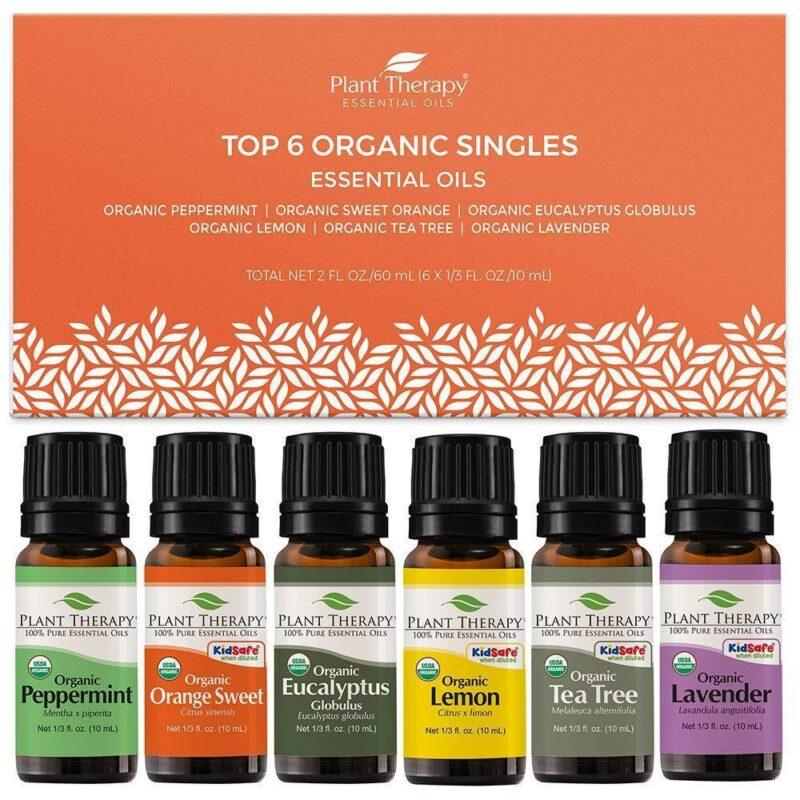 Plant Therapy Top 6 Singles Organic Essential Oil Set